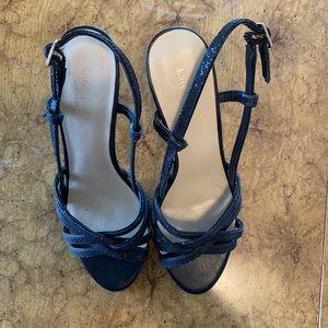 Black glittered Kate spade heel sandals